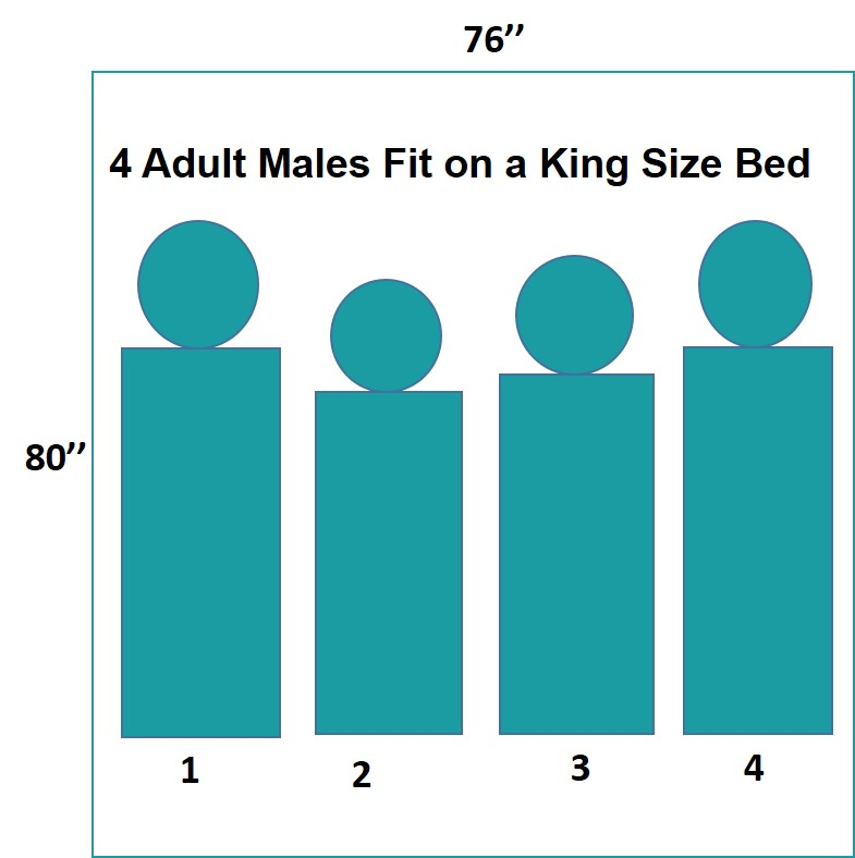 4 adult males can fit on a king size bed