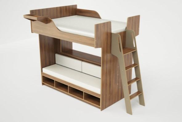 queen loft bed with a bench and stairs