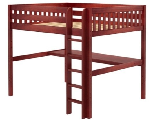 yes, loft beds come in queen size like this chest nut queen