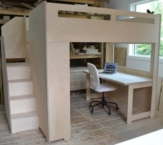 wooden queen loft bed with table and chair