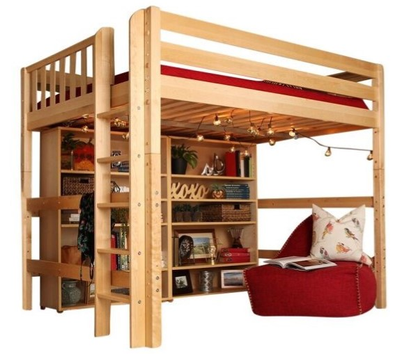 queen loft bed with drawer and storage space