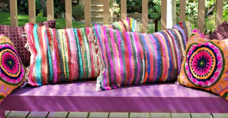 old pillows can be repurposed for outdoor seating