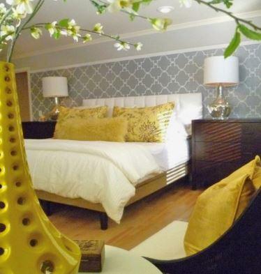 citrine yellow themed master bedroom