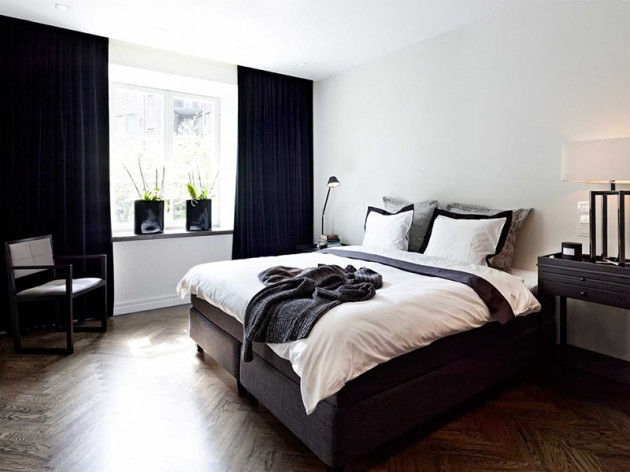 black curtains with white walls in bedroom