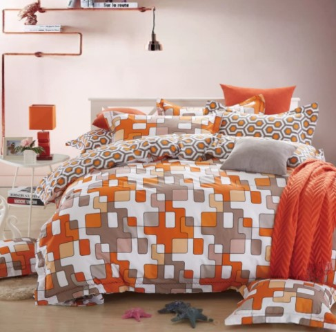 Orange-white queen duvet cover scandinavian design