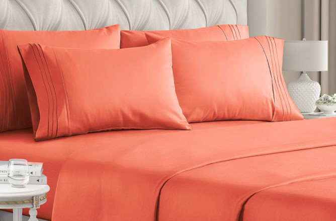queen size orange bed sheets
