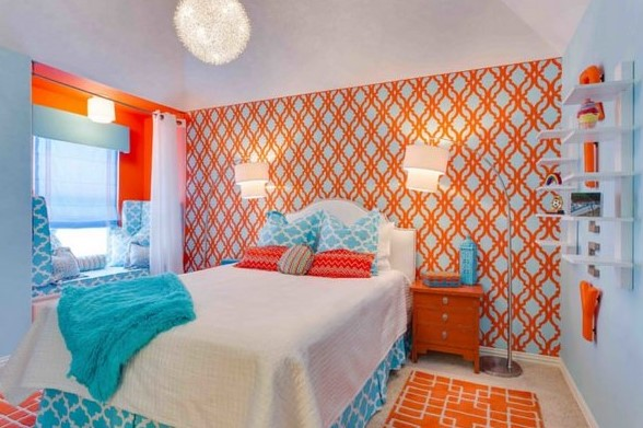 beautiful orange bedroom wall