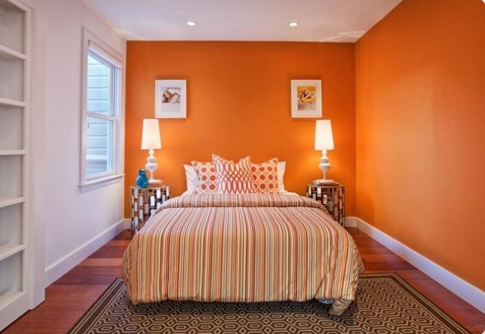 superb orange walls on a bedroom