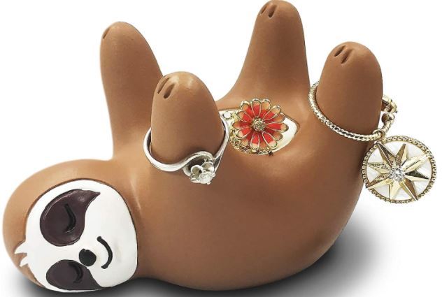 cute sloth ring holder for bedroom