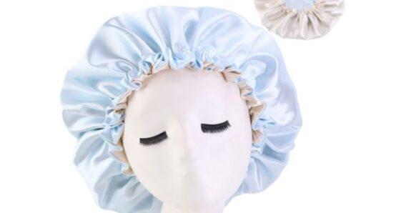 wearing a hair bonnet for sleep