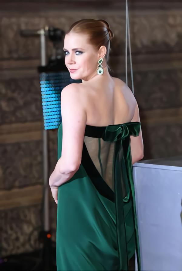 an emerald green dress